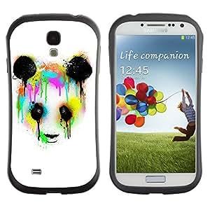 Hybrid Anti-Shock Bumper Case for Samsung Galaxy S4 / Neon Panda Graphiti Painting