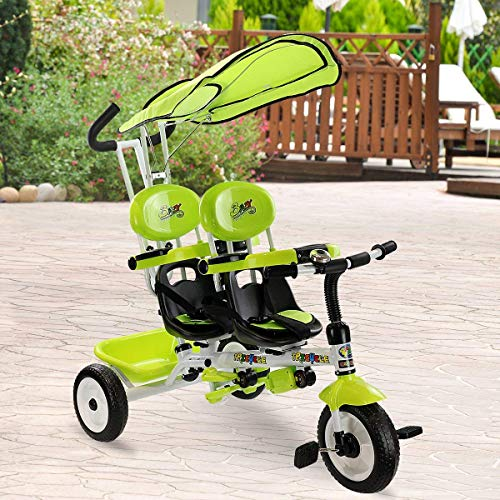 (Costzon Kids Trike, 4-in-1 Kids Steer Tricycle Stroller Bike w/Canopy Basket (Tandem Tricycle, Green))