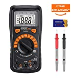 Tacklife DM02A Advanced Digital Multimeter, Auto-Ranging Electronic Amp Volt Ohm Voltage Multimeter with Diode and Continuity Test Tester, Backlight LCD Display