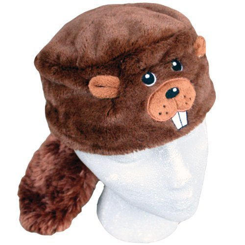 (Child's Faux Fur Beaver Animal Hat, Brown, Lined)