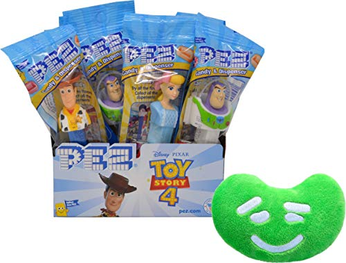 PEZ Toy Story 4 Candy Dispenser By The Cup Gift Set (Pack of 12) with Jelly Belly Mini Emoji Plush]()
