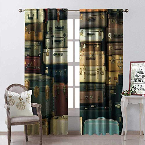 Hengshu Vintage Window Curtain Fabric Colorful Vintage Suitcase Antique Leather Travel Map Nostalgia Themed Print Drapes for Living Room W72 x L108 Brown Cream Green