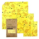 Beeswax Wraps-Set of 3 Reusable Bees Wax Food Wraps, Zero Waste Sustainable Storage for Sandwich, Cheese, Fruit, Bread, Snacks | Eco Friendly Alternative to Plastic Bags, Cling Wrap