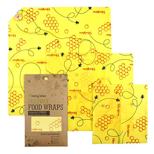 (Beeswax Wraps-Set of 3 Reusable Bees Wax Food Wraps, Zero Waste Sustainable Storage for Sandwich, Cheese, Fruit, Bread, Snacks | Eco Friendly Alternative to Plastic Bags, Cling Wrap)