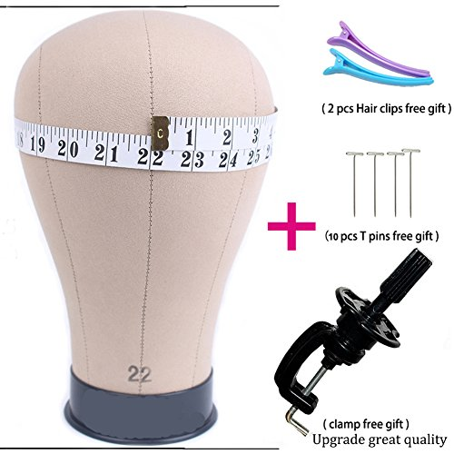 21-24 Size 100% Cork Canvas Block Wig Head for Wig Making, Styling & Display and Hat Making & Display with Mount Hole (22inch)