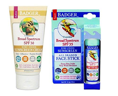 Badger SPF30 Sunscreen  and Badger SPF 35 Sport Sunscreen Fa