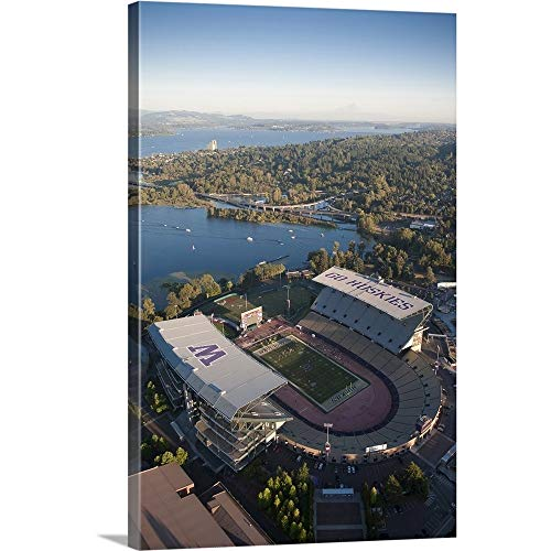 Aerial View of Husky Stadium, Seattle, Washington Canvas Wall Art Print, 24