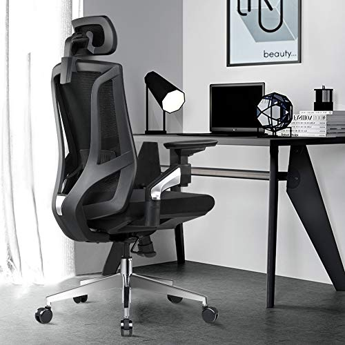 ANGEL QUEEN Ergonomic Office Desk Chair High Back Mesh Desk Chair with 4D Adjustable Arm Rests Computer Chair Height Adjustable and Head Support Adjustable - Black