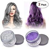 2x120g MOFAJANG Hair Dye Wax Silver Ash Grey Hair Wax Temporary Hair Wax(Purple & Silver Grey)
