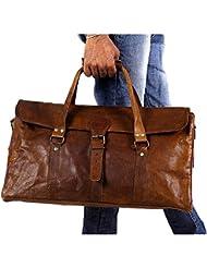 Urban dezire 20 Inch Vintage Leather Duffel Travel Gym Sports Overnight Weekend Duffel Bag
