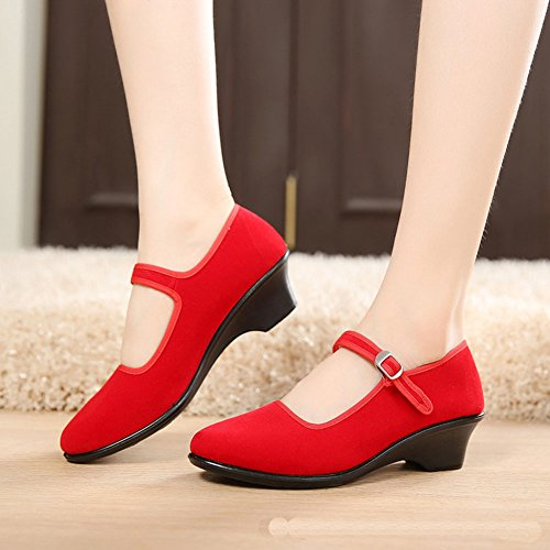 Strap Red Old Canvas Eagsouni China Women's Heel Mary Work Jane Beijing Shoes Office n7q6r7vY