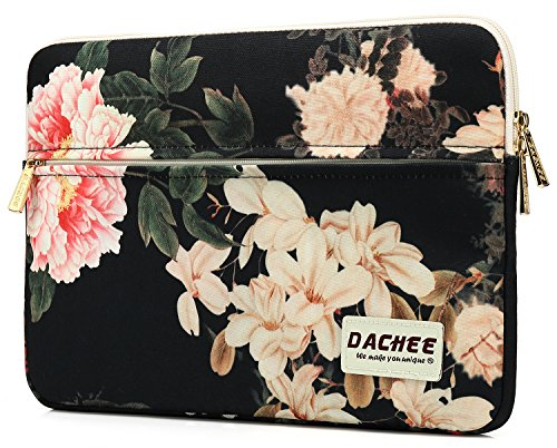 Dachee Black Peony Pattern 13 inch laptop sleeve with pocket 13 inch 13.3 inch laptop case macbook (Pattern Peony)