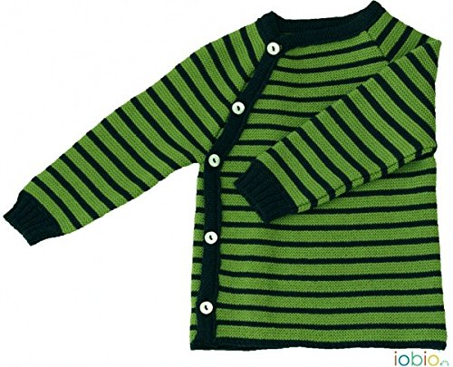 - 100% MERINO WOOL baby kimono shirt sweater knitted striped top (3-6 months, Dunkelblau Grün)