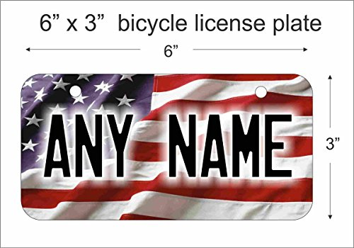 American Flag Novelty License Plate Mini License Plate For Bicycles, Bikes, Wheelchairs, Golf Carts personalized with your design custom vanity Decorative plate Can Also Be Used As a Door Sign -  ATD Design LLC, LPAmrcnflagBK