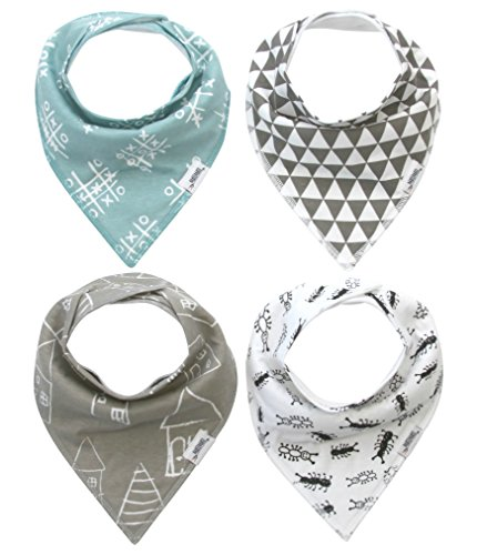 Baby Bandana Drool Bibs with Snaps, Organic Super Absorbent Cotton Drooling & Teething Bib Set of 4 by Matimati (Ants&Houses)