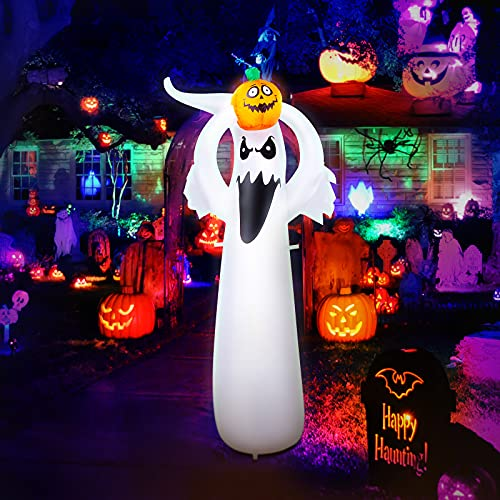 6 Ft Halloween Decorations Inflatable Ghost Pumpkin with Led Light Built-in, Fun Outdoor Halloween Decorations, for Indoor Front Yard, Porch, Lawm or Halloween Party