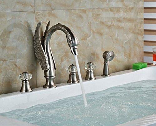 GOWE Luxury Brushed Nickel Swan Bathroom Tub Faucet 5 PCS