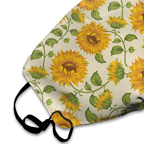 Muindancer Dust Mask, Sunflower Print Face Mask with Adjustable Earloops Breathable Reusable Outdoor Mouth Cover for Adults Kids