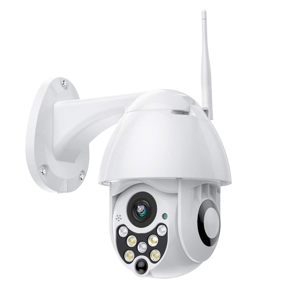 SDETER Outdoor PTZ WiFi Security Camera, Wireless Pan Tilt Zoom 4.1X Surveillance CCTV IP Weatherproof Camera with Two Way Audio Night Vision Motion Detection 720P