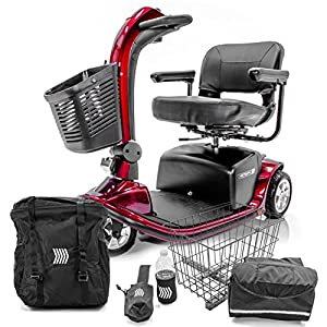 VICTORY 9 Pride 3-wheel Electric Scooter SC609 Red + Challenger Mobility Accessories by Pride Mobility