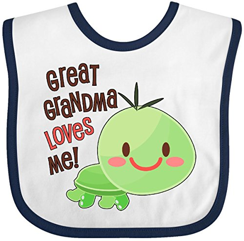 (Inktastic - Great Grandma Loves Me- cute turtle Baby Bib White/Navy 30ad1)