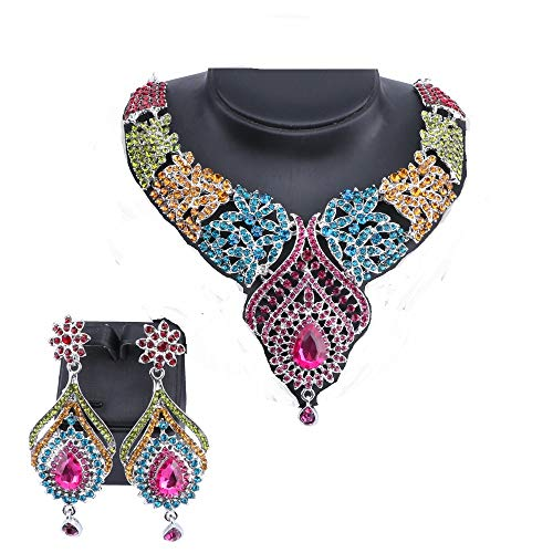 Women's Elegant Austrian Crystal Statement Necklace Earrings Jewelry Set for Wedding Dress and Boxes (Silver Colorful) ()