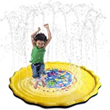 Kids Water Sprinkle and Splash Pad Play Mat Toy Outdoor Perfect Inflatable Outdoor Summer Fun Backyard Play for Children (39INCHES)