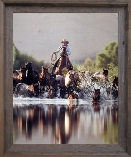 Impact Posters Gallery Framed Wall Decoration Cowboy Roundup Horses Old West David Stoecklein Western Barnwood Framed Picture Art Print (19x23)