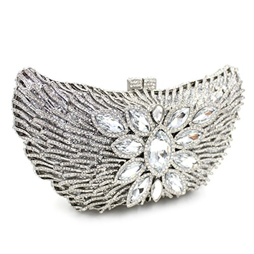 Carved Rose Clutches Bag Metal Shoulder Lady Party Bags Colorful Chain Embroidery Evening Flowers Evening Luxury Silver Dinner n4YFZUqZX