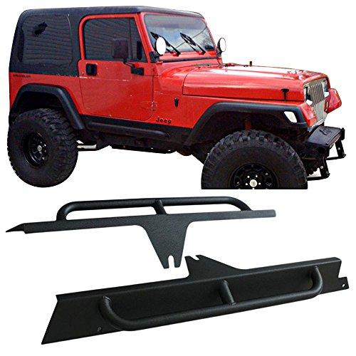 Side Step Bars Fits 1987-1996 Jeep Wrangler YJ   Black Powder Coat Finish Black Heavy Duty Steel Running Boards Nerf Bars By IKON MOTORSPORTS   1988 1989 1990 1991 1992 - Step Laredo A