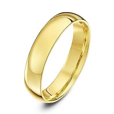 Theia Anillo de Bodas Unisex en Oro Amarillo o Oro Blanco, de 18ct de 2-9mm, Forma de Corte, Pesado, Pulido: Amazon.es: Joyería