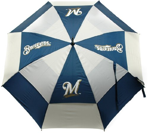 """Team Golf MLB Milwaukee Brewers 62"""" Golf Umbrella with Protective Sheath, Double Canopy Wind Protection Design, Auto Open Button"""