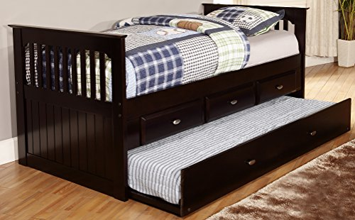 Discovery World Furniture Rake Bed with 6 Drawers, Twin, Esp