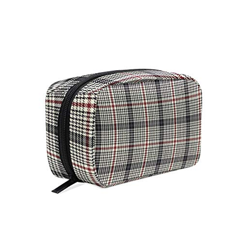 Makeup Cosmetic Bag Houndstooth Check Cream Plaid Portable Travel Train Case Toiletry Bags Organizer Multifunction Storage Bag