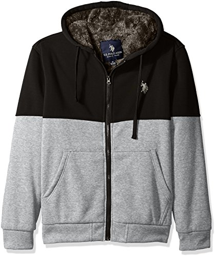 - U.S. Polo Assn. Men's Fleece Color Blocked Hoodie with Faux Sherpa Lining, Black, X-Large