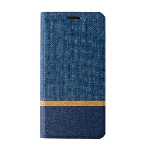 Funda BQ Aquaris V,SunFay Cartera Carcasa Flip Folio Caja Piel PU Suave Super Delgado Estilo Libro,Soporte Plegable para BQ Aquaris V - Gris Azul
