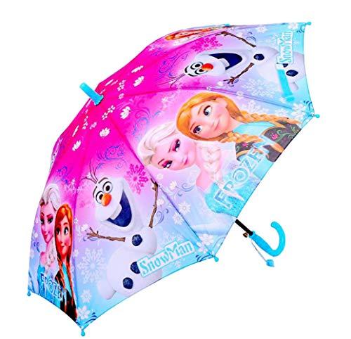 Kid's Cartoon Umbrella Girl's Umbrellas Brolly Sun Rain (blue elsa)]()