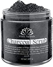 Activated Charcoal Scrub 10 oz By White Naturals: Facial & Body scrub Reduces Wrinkles Blackheads & Acne ScarsNatural Skin Care Face CleanserPure Vegan Scrub For Skin Exfoliation And Detox.