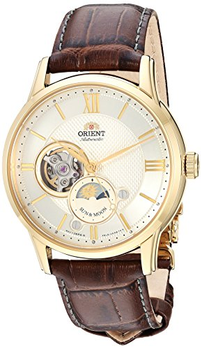 - Orient Men's 'Sun and Moon Open Heart' Japanese Automatic Stainless Steel and Leather Dress Watch, Color:  Brown (Model: RA-AS0004S10A)