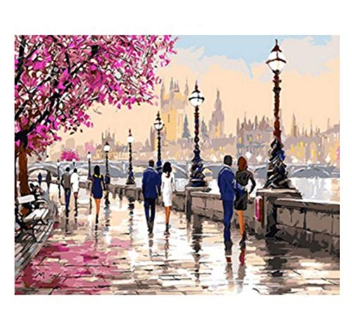 (Painting by Numbers Thames Lovers Acrylic Coloring by Numbers Unframed Modular Picture for Living Room 16X20In)