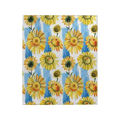 (InterestPrint Wildflower Yellow Chamomile Flower Pattern Soft All-Season Luxury Cotton Quilt 50