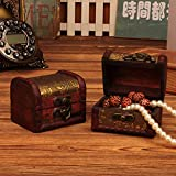 Wffo Cute and Solid Jewelry Box Vintage Wood Handmade Box with Mini Metal Lock for Storing Jewelry Treasure Pearl(Brown)