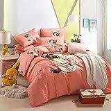 Cute Kitten Orange Bedding Duvet Cover Set Cartoon Bedding Kids Bedding Girls Bedding Teen Bedding Gift Idea, Full Size
