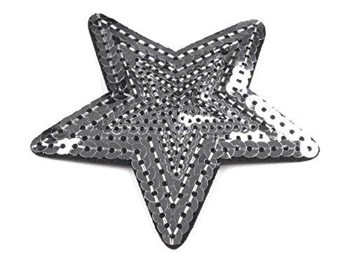 Aufbügler, Aufnäher Stern Pailetten Ø70mm #01 silver