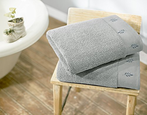 Swiss Republic 100% Cotton 2 Piece Towel Set (Light Grey); 2 Extra Large Bath Towels, Machine Washable, Super Soft, Rivera Collection, 600GSM, Zero Twist Towels