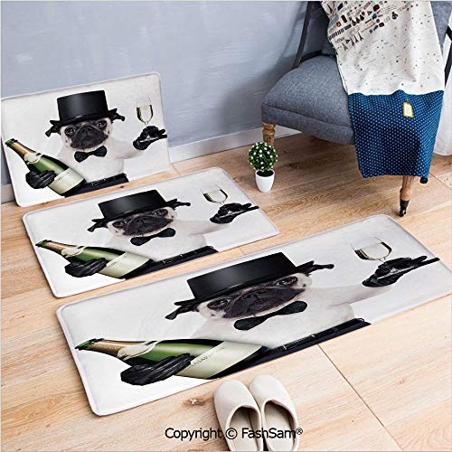 FashSam 3 Piece Flannel Bath Carpet Non Slip Celebration Dog with Champagne Bottle While Toasting Happy Moments Photographs Front Door Mats Rugs for Home(W15.7xL23.6 by W19.6xL31.5 by W19.6xL59)