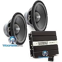 pkg Sundown Audio SAE-600D Monoblock 600W RMS Digital Class D Amplifier + (2) Sundown Audio LCS-12D4 12 Dual 4-Ohm Subwoofers