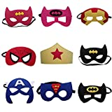 Tretree 9 Pieces Superhero Masks Super Hero Felt Mask Birthday Party Favors for Kids