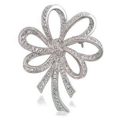 - Bling Jewelry Bridal Wedding Bow Ribbon Brooch Pin CZ Silver Tone Rhodium Plated Brass