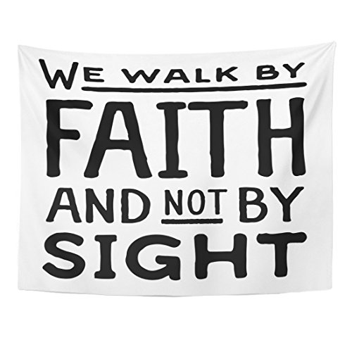 TOMPOP Tapestry Beliefs We Walk By Faith and Not Sight Design Retro Christian Scripture Bible Verse Believe Christ Home Decor Wall Hanging for Living Room Bedroom Dorm 60x80 Inches by TOMPOP